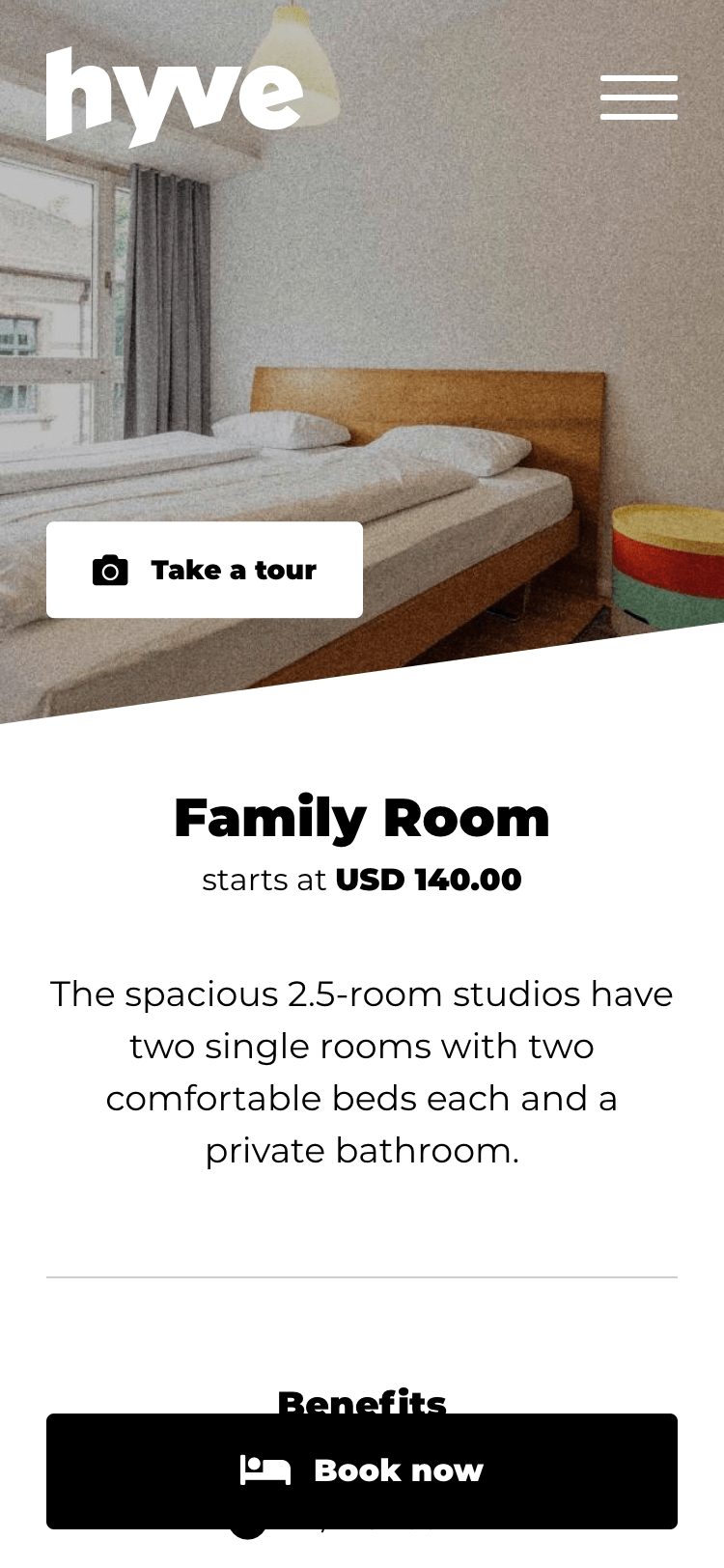 "iPhone screenshot that shows the ""Family Room"" with the fixed ""Book now"" button"
